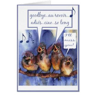 farewell, goodbye,au revoir,adios,ciao, bon voyage greeting card