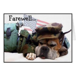 Farewell Military Boxer dog greeting card