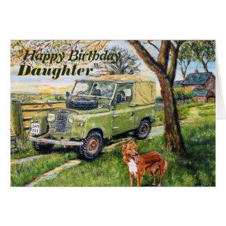 """FARM"" 4x4 vehicle Daughters Birthday Greeting Card"