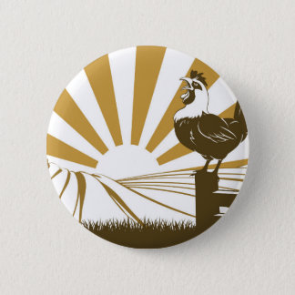 Farm and rooster 6 cm round badge