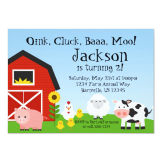 Farm Animal and Barn Birthday Party Invite