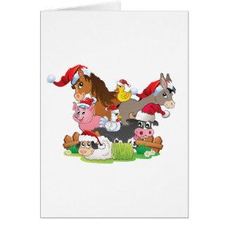 Farm Animal Christmas Greeting Card
