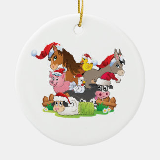 Farm Animal Christmas Ceramic Ornament