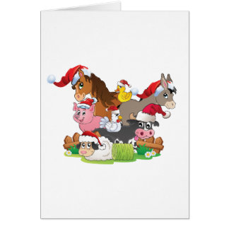 Farm Animal Christmas Greeting Card