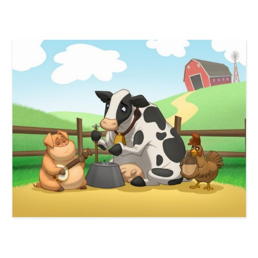 Farm Animal Jug Band Postcard