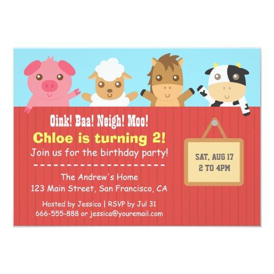 Farm Animal Red Fence Birthday Party Invitations
