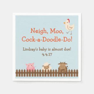 Farm Animal Themed Napkins- Farm Baby Shower Paper Napkin