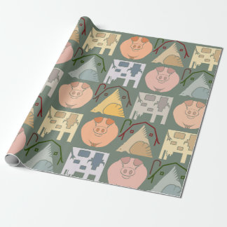 Farm Animal Wrapping Paper on Green Background