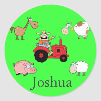 Farm animals and Tractor Classic Round Sticker