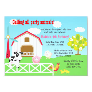 Farm Animals Barnyard Birthday Party 13 Cm X 18 Cm Invitation Card