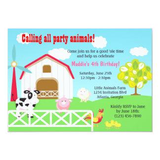 Farm Animals Barnyard Birthday Party Card