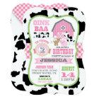 Farm Animals Cowhide Gingham Country Girl Birthday Card