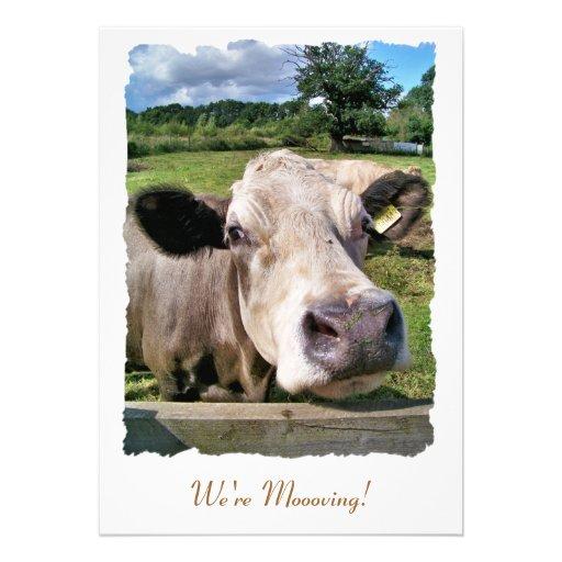 FARM ANIMALS, CUTE COW PERSONALIZED INVITATIONS