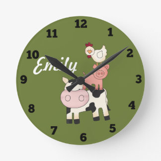 Farm animals kids clock