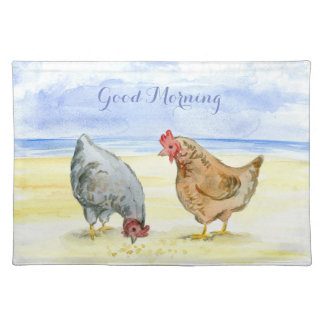 FARM ANIMALS  PLACEMAT , CHICKEN EATING, HEN