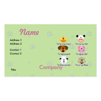 Farm Animals Sounds Double-Sided Standard Business Cards (Pack Of 100)