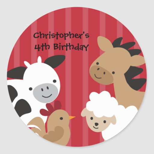 Farm Animals Stickers Round Stickers