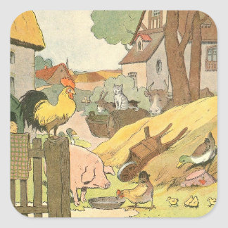 Farm Animals Story Book Illustrated Square Sticker