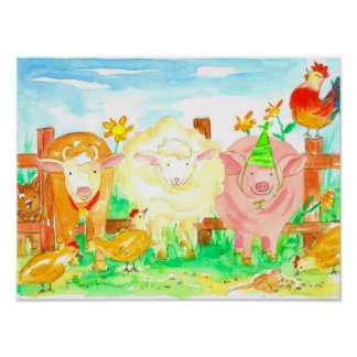 Farm Animals Watercolor Poster
