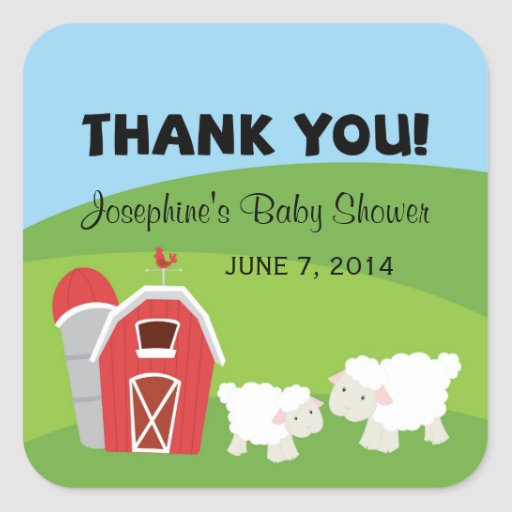 Farm Baby Shower Thank You Stickers Stickers