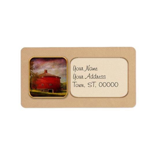Farm - Barn - Red round barn Label