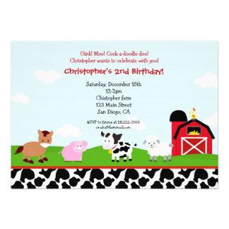 Farm Barnyard Birthday Invitations