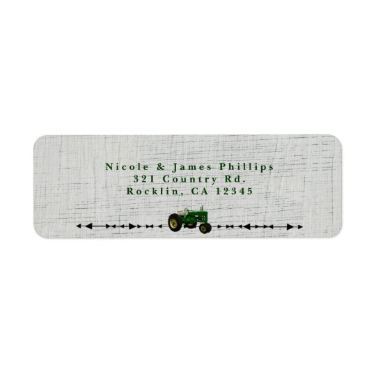 Farm Barnyard Tractor Birthday Party Invitation Return Address Label