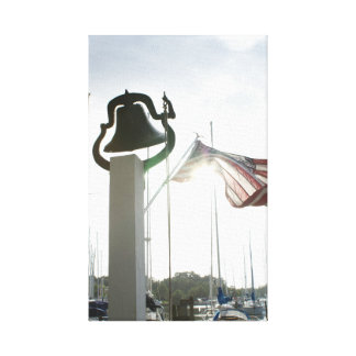 Farm Bell and Flag in Deltaville, Virginia Art Canvas Print