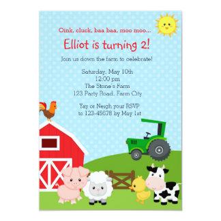 Farm Birthday Invitation with Green Tractor (Barn)