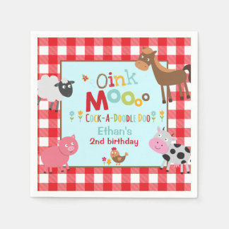 Farm Birthday Party Napkin Old MacDonald Party Disposable Napkin