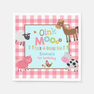 Farm Birthday Party Napkin  Old MacDonald Party Disposable Serviette