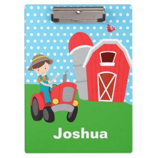 Farm Boy Blue Polka Dot Green Grass Barn Clip Clipboard