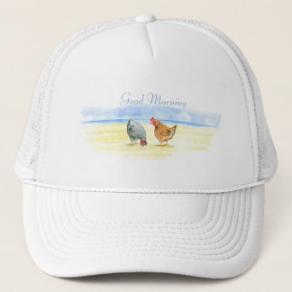 FARM CHICKEN HAT, LOVELY HENS EATING TRUCKER HAT