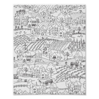 Farm Country Ready to Color Village Illustration Poster