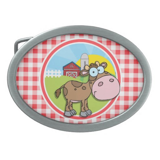 Farm Cow; Red and White Gingham Belt Buckles