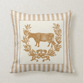 Farm Cow with Wreath on Brown Ticking Cushion