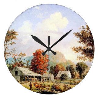 Farm Creek Horse Ox Barn Americana Wall Clock