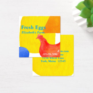 Farm Fresh Eggs Chicken Hen Square Business Card