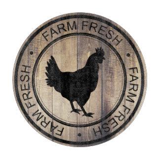 Farm Fresh Farmhouse Barn Wood Black Hen Cutting Board