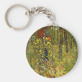 Farm Garden with Crucifix by Gustav Klimt Basic Round Button Key Ring