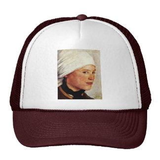 Farm Girl With A White Head Scarf By Leibl Wilhelm Hat