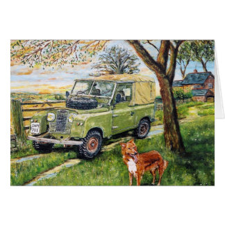 """FARM"" Greetings Card With Land Rover Scene."