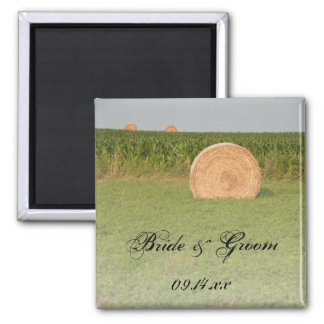 Farm Hay Bales Country Wedding Square Magnet