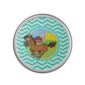 Farm Horse Aqua Green Chevron Speaker