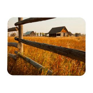 Farm House And Rail Fence In Grand Teton Rectangular Photo Magnet