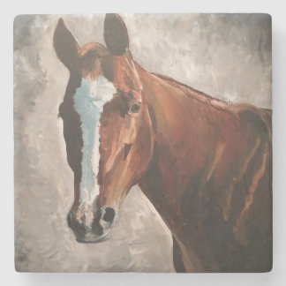 Farm House Ranch Sorrel Horse Marble Tile Coaster
