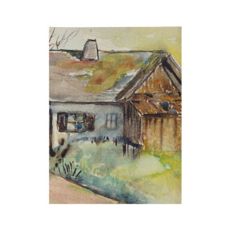 Farm House Watercolor Poster Print Wood Poster