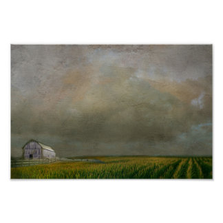 farm in the middle of corn field poster
