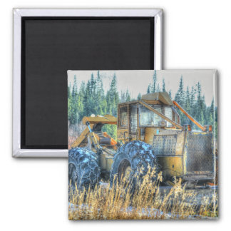 Farm Machinery, Tractor, Back-Hoe, Farm Vehicle Square Magnet