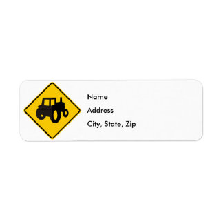 Farm Machinery Traffic Highway Sign Return Address Label